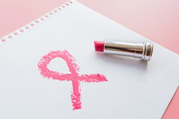 Breast cancer awareness symbol painted with pink lipstick