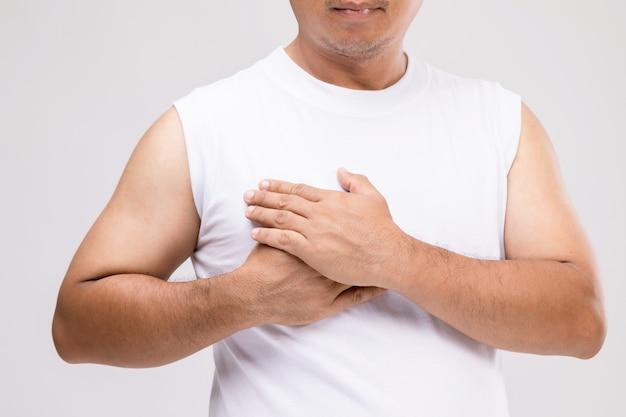 남성 개념의 유방암 : 치료의 자세에서 초상화 아시아 남자 또는 유방암으로부터 자신을 보호합니다.