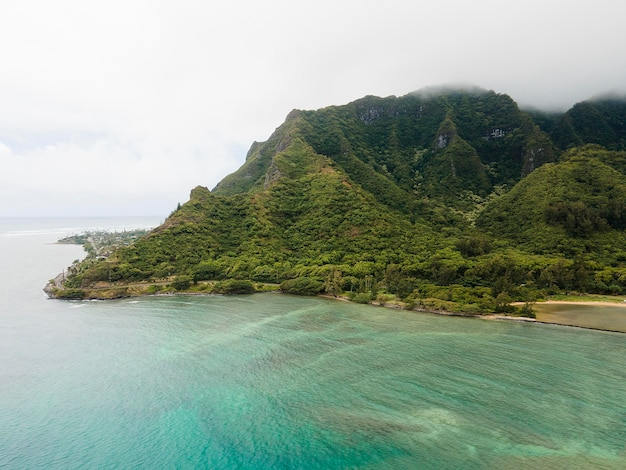 Breathtaking hawaii landscape with the sea