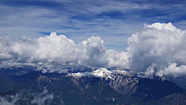 Breathtaking high angle shot of snowy mountains under the clouds and the sky in the background