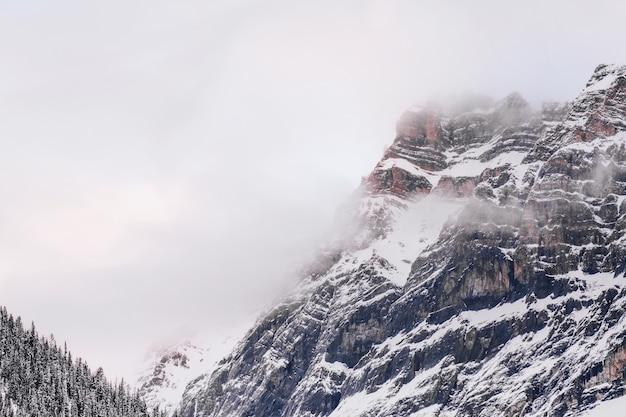 Захватывающий пейзаж заснеженных гор на фоне серого неба.