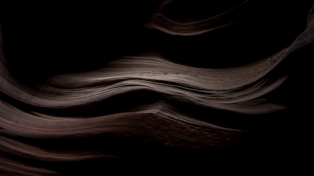 Breathtaking scenery of beautiful sand textures in the dark in antelope canyon, usa