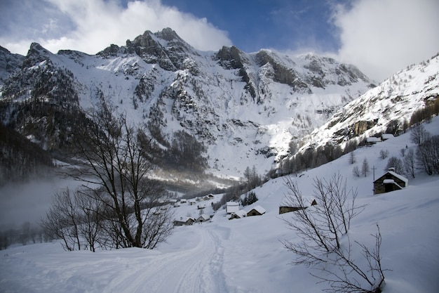 아름다운 흐린 하늘 아래 눈 덮힌 산의 숨막히는 풍경