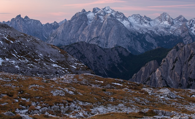 Breathtaking shot of the early morning in the italian alps