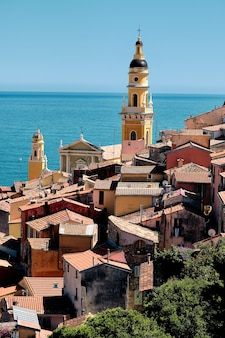 Breathtaking shot of the facade of old houses captured in the town of menton in france