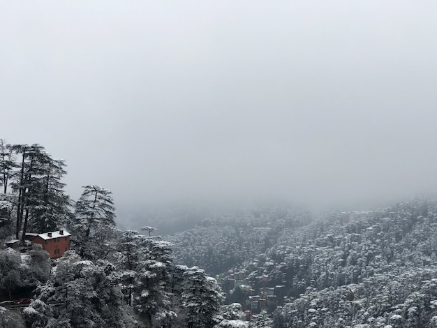Breathtaking view of a mountain city after snowfall