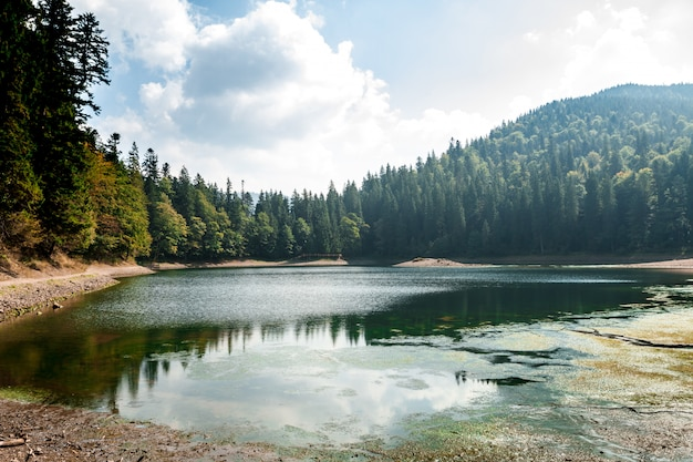 Захватывающий вид на озеро высоко в карпатах