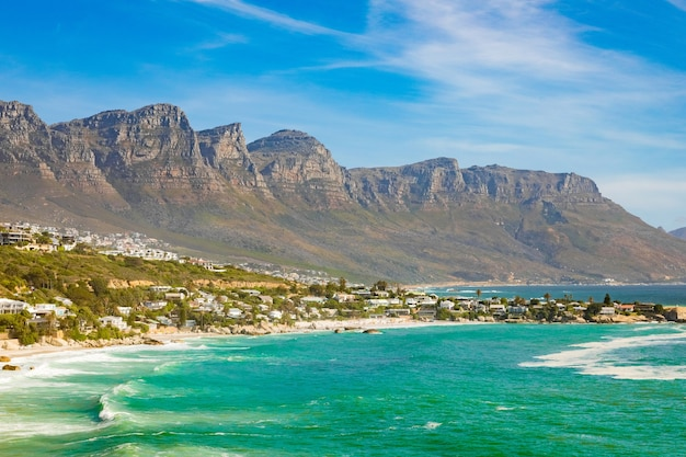 Breathtaking view of the rocky cliffs by the ocean captured in cape town, south africa
