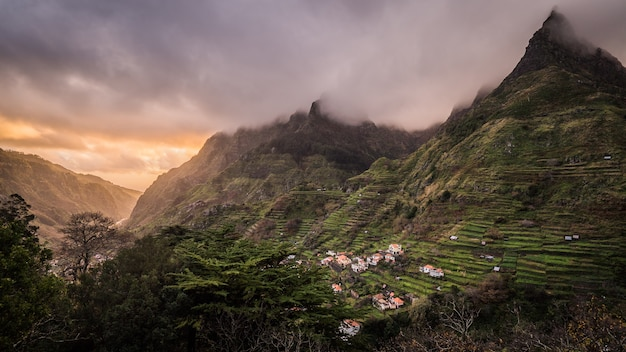 Breathtaking view of the village on the mountains captured in madeira island