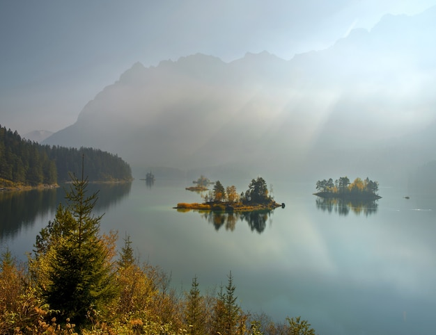 Breathtaking view of zugspitze lake surrounded with forests in eibsee