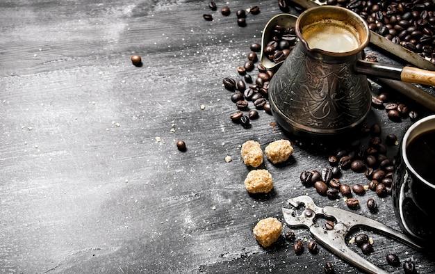Brewed coffee pot with sugar