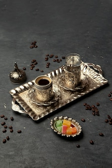 Brewed coffee served with water 1