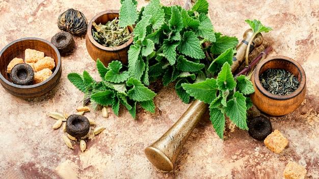 Brewed delicious herbal tea with melissa leaf