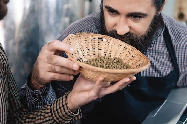 Brewer smells natural hop granules microbrewery.