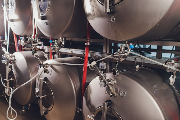 Brewery metal capacity equipment in factory workshop.