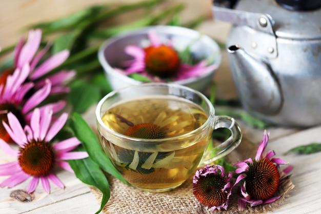 エキナセアとお茶を淹れる。