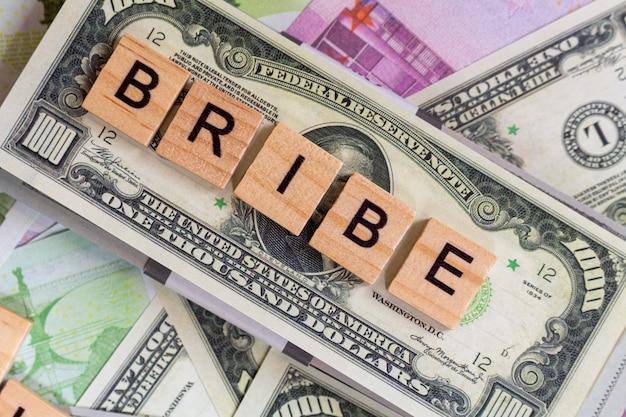 単語「賄bri」、グラフト、お金の紙幣の腐敗