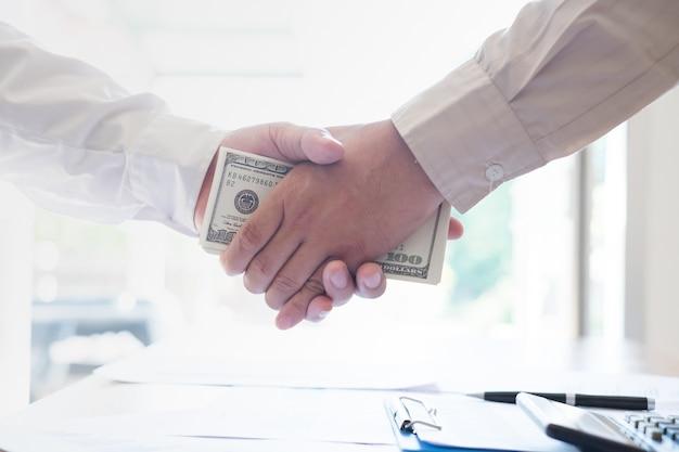 Bribery to induce corruption. corruption concept