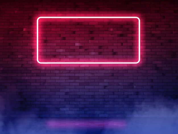 Brick  neon wall with tube and wet asphalt. background with copy space