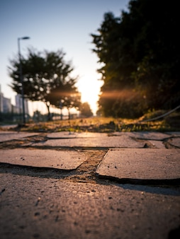 Brick road with sunrise