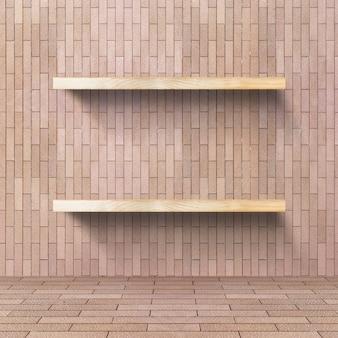 나무 선반이있는 벽돌 방, 제품 표시를 위해 조롱