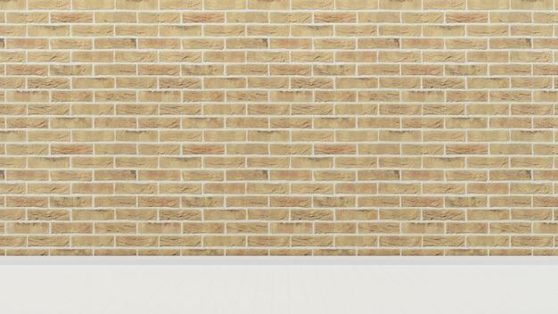 レンガタイルの壁と白い床の空の部屋の背景