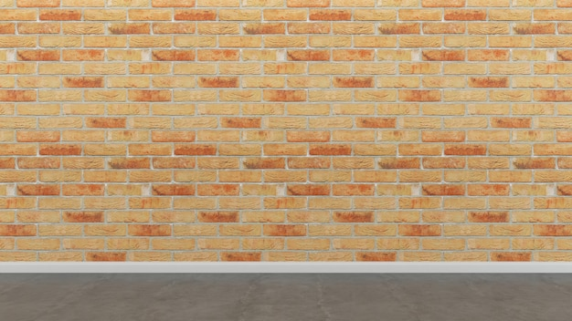 Brick tile wall and floor empty room background