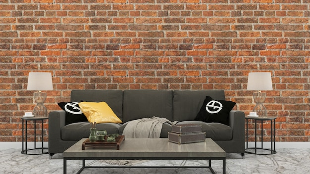 Brick tile wall gray sofa living room house background template