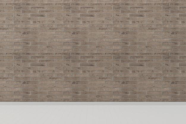 レンガタイルの壁のリビングルームの家の背景のテンプレート白の床