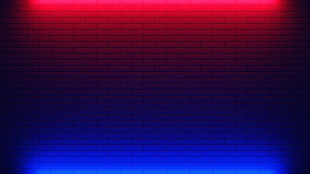 벽돌 벽 배경, 네온 빛. 3d 일러스트
