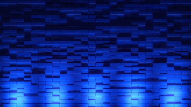 벽돌 벽 배경, 네온 불빛입니다. 3d 그림