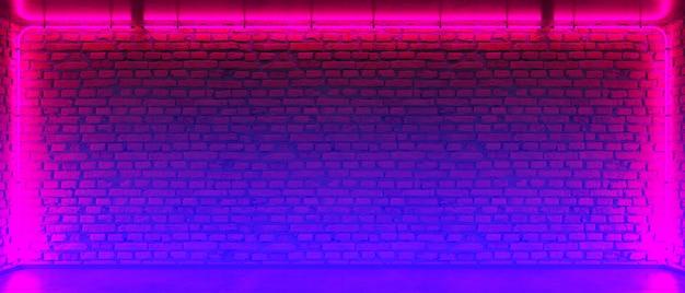 Кирпичная стена, фон, неоновый свет. неоновая комната