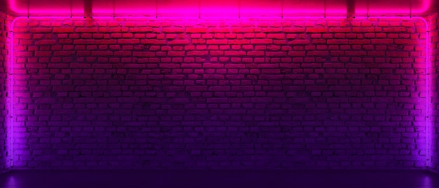 Кирпичная стена, фон, неоновая лампа. неоновая комната