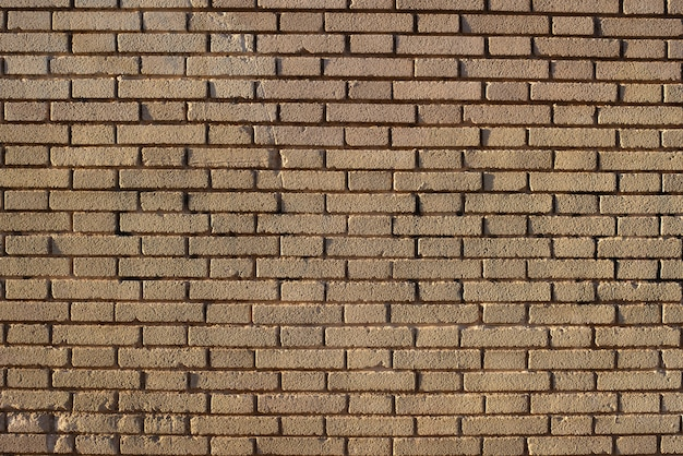 Brick wall background at sunset with sun rays, stone texture.