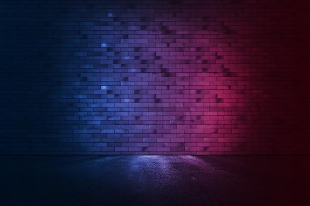 ネオンの光とレンガの壁の背景。