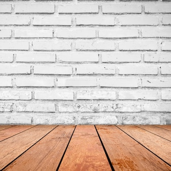 Brick wall background with retro brown wood tabletop