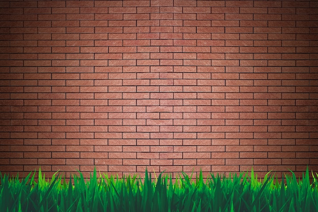 Brick wall and grass background or wallpaper