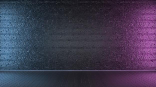 Кирпичная стена, неоновая подсветка. 3d иллюстрации.