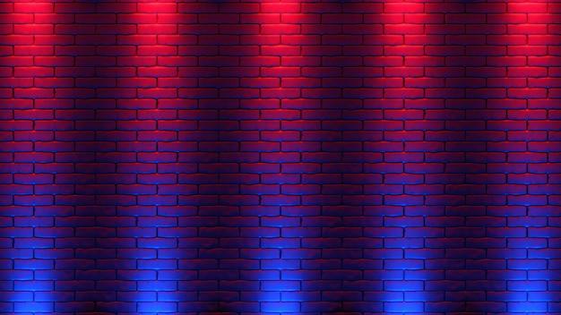 벽돌 벽 네온 빛 배경