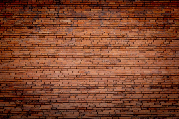 Brick wall of red wide panorama. background of old vintage brick wall