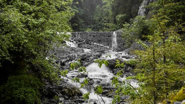 森の中のレンガの壁の滝