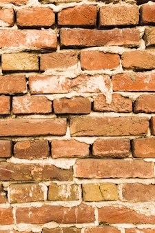 Brick wall with concrete