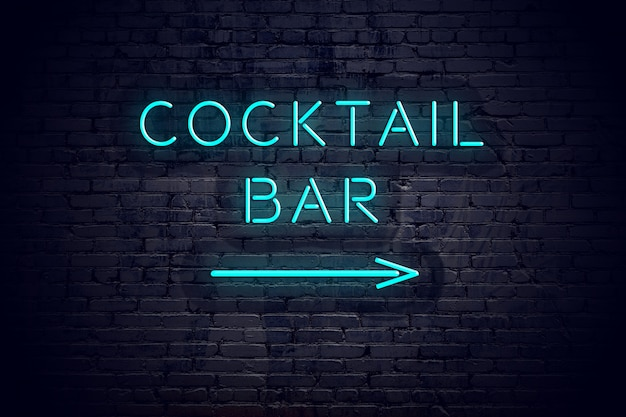 Brick wall with neon arrow and sign cocktail bar.