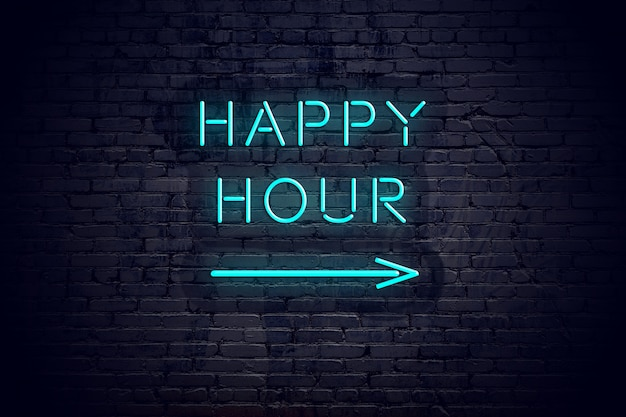 Brick wall with neon arrow and sign happy hour.