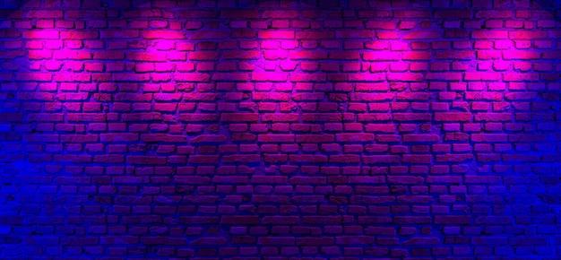 벽돌 벽과 네온 빛 배경