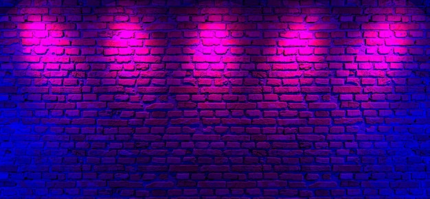 Brick walls and neon light background
