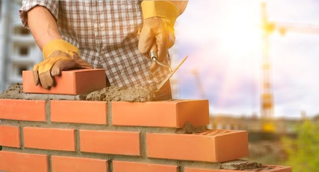 Каменщик конструктор архитектура фон блок кирпич кирпичная кладка