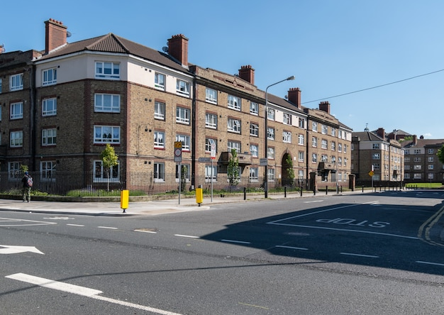 Bricks build apartment blocks at the cross roads near dublin city center.