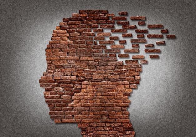 부서지는 벽돌 머리