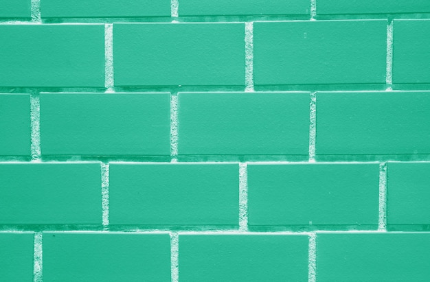 Bricks wall in beautiful mint green color, closed up for background